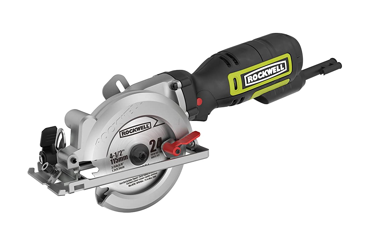 """Rockwell RK3441K 4-1/2"""" Compact Circular Saw, 5 amps, 3500 rpm with Dust Port and Accessory Kit"""