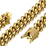 Jxlepe Mens Miami Cuban Link Chain 18K Gold 15mm Stainless Steel Curb Necklace with cz Diamond Chain Choker (20) (Color: Gold, Tamaño: 15 mm)