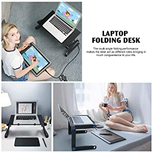 Adjustable Laptop Stand Bed Desk 23.2 Laptop Stand for Bed Couch Sofa Foldable Laptop Table Portable with Cooling & Fan Mouse Pad Lightweight Portable Bed Sofa Couch Lap Tray (Color: 1 Fan)