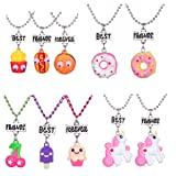 4 Sets 10 Best Friends Necklace Pendant Necklaces for Kids Boys Girls Friendship with Milk,Biscuit,Ice Cream,Doughnuts (style 2)