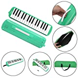 Glarry 32 Keys Melodica Musical Instrument for Music Lovers Gift with Carrying Bag (Green)