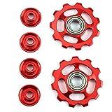 2 pcs Bike 11T Aluminum Sealed Bearing Jockey Wheel Rear Derailleur Pulleys ,Tuscom (Red) (Color: Red)