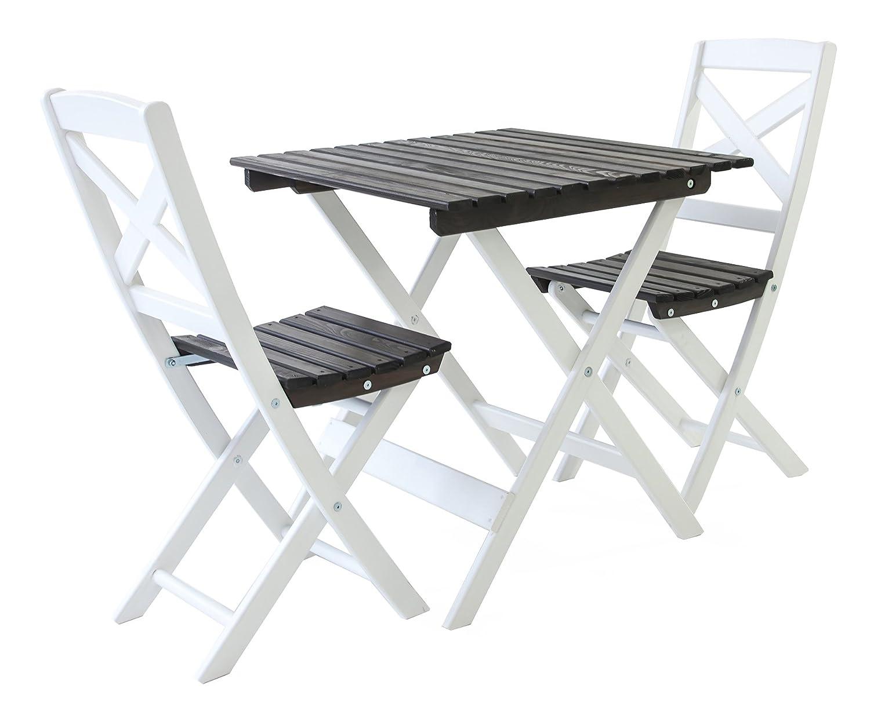 GARDENho.me Nordische Gartenmöbel 3tlg. Massivholz Balkonset Lotta Tischgruppe Weiß/Taupegrau