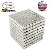 radarfn Magnetic Cube 512 PCS Magnet Sculpture Stress Relief Toy DIY Educational Toys for Kids and Adults (3MM)