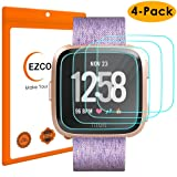 EZCO Fitbit Versa Screen Protector (4-Pack), Waterproof Tempered Glass Screen Protector Cover Saver for Fitbit Versa Smart Watch Scratch Resist 99.9% Clear HD Anti-Bubble (Color: 4 Packs Fitbit Versa Screen Protector)