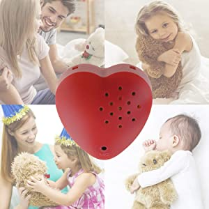 1 Pack, Inventiv 30 Second Voice Sound Recorder Module for Plush Toy, Stuffed Teddy Bear Animal Recordable Heart, Record Custom Messages (Red) (Color: Red - 1pack)