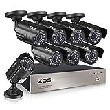 ZOSI 8-Channel HD-TVI 720P 1080N Video Security DVR Surveillance Camera Kit 8 x 1280TVL Indoor Outdoor IR Weatherproof Cameras 65feet 20m Night Vision with IR Cut NO Hard Drive (Certified Refurbished)