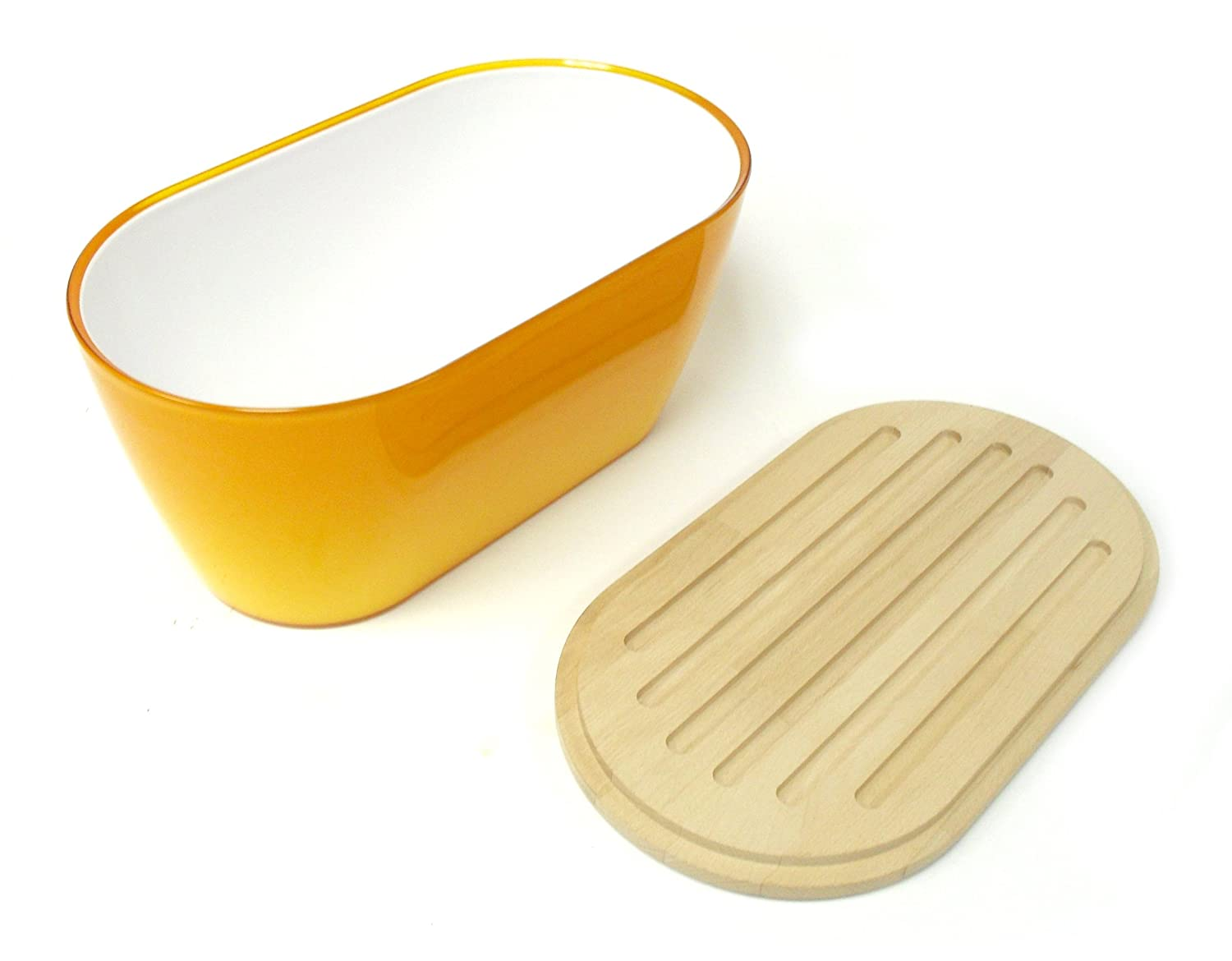 Omada Woody Bread Bin with Cover/Chopping Board, Yellow