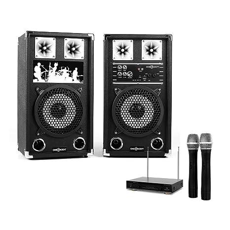 """Set Karaoke """"STAR-08A"""" - Enceintes 8"""" 40W RMS avec ports USB et SD pour lecture MP3, EQ, effets pour micro + paire de micros sans fil"""