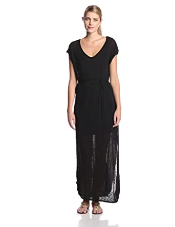 Splendid Women's Slub Maxi Dress with Tie Waist, Black, Large
