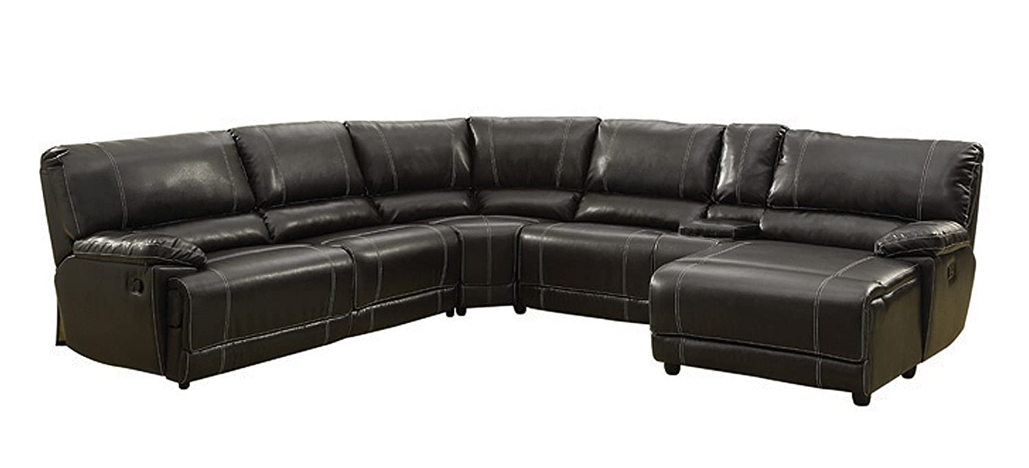 Homelegance 5 Piece Bonded Leather Sectional Reclining Sofa with Chaise and Center Cup Holder Console - Black