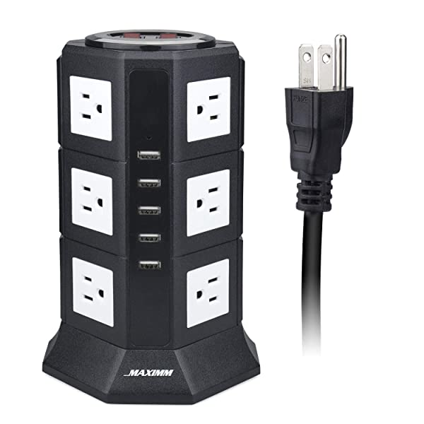 Maximm Surge Protector Power Strip Tower, 12 AC Outlets + 5 USB Ports, Desktop Charging Station Multiple Plug Outlets with 6.5 ft / 2M Long Power Cord (Color: Black-3 Layer, Tamaño: 12 AC - 5 USB)