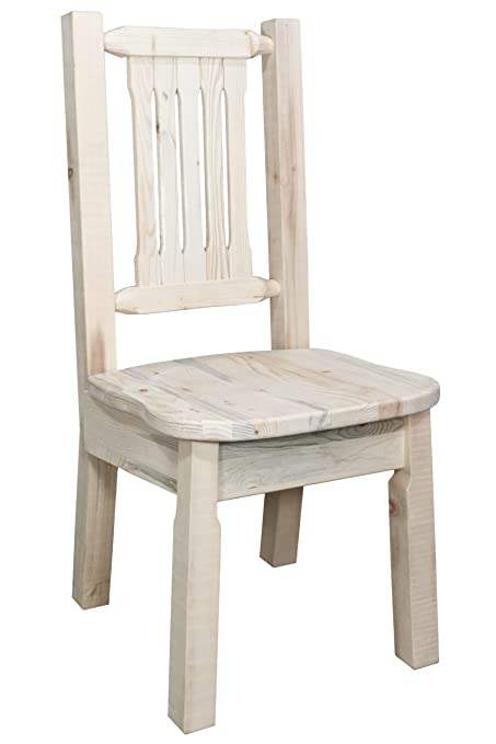 Montana Woodworks Homestead Collection Dining Side Chair with Ergonomic Wooden Seat, Clear Lacquer Finish
