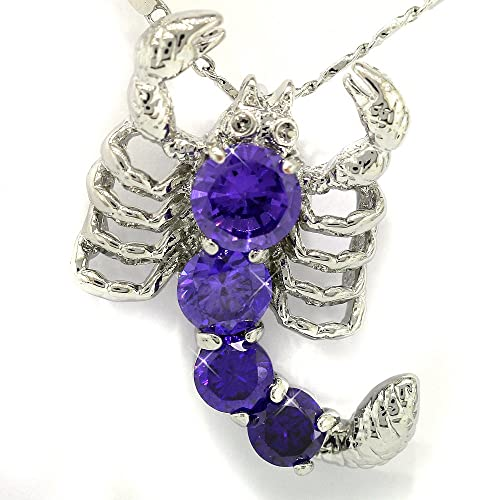 Amethyst Color CZ Scorpion Silver Tone Pendant with 18Necklace