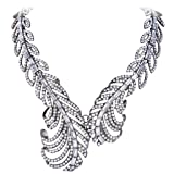 EVER FAITH Black-Tone Austrian Crystal Art Deco Dual Peacock Feather Statement Necklace Clear