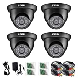 ZOSI 4 Pack 1/3 1000TVL 960H High Resolution Security Surveillance Cctv Camera Kit Hd Had Ir Cut 3.6mm Lens Outdoor Dome Weatherproof (Color: 4Camera, Tamaño: 16.8 x 3.5 x 10.5 inches)