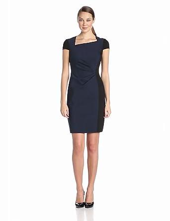 Elie Tahari Women's Toni Double Knit Asymmetrical Neck Capsleeve Dress, Midnight Dream/Black, 0