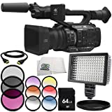 Panasonic AG-UX180 4K Premium Professional Camcorder 8PC Accessory Bundle – Includes 64GB SD Memory Card + 3 Piece Filter Kit (UV + CPL + FLD) + More - International Version (No Warranty)