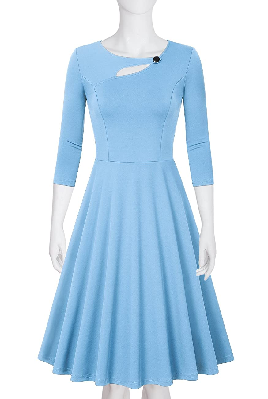 Bebonnie Women's 3/4 Sleeve Elegant Chic Bodycon Formal Dress(Size Runs Small,Suggest Choose One Size Larger) 2