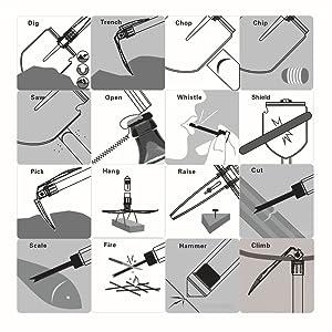 Excursionismo Pesca Excursionismo Trench Entrenching Tool LL-shovel Pala Plegable Militar con Kit t/áctico para Acampar etc.
