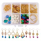 SUNNYCLUE 1 Box DIY 6 Pairs Chandelier Bohemian Drop Earrings Making Kits Include Shell Gemstone Drop Beads, Chandelier Earring Loops Connectors Charms, Earring Hooks and Jewelry Findings, Instruction (Color: Golden)