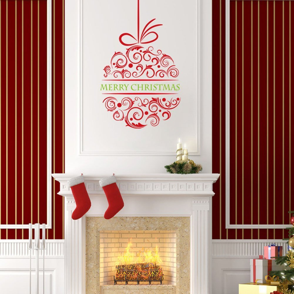 Fund Removable Merry Christmas Ball Christmas Wall Art Vinyl Mural Wall Decals