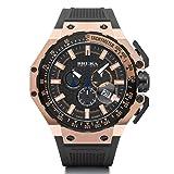 Brera Orologi BRGTC5408 Gran Turismo Swiss Made Ronda 5030.D Dial Rose Gold Tone Black Rubber Strap Watch