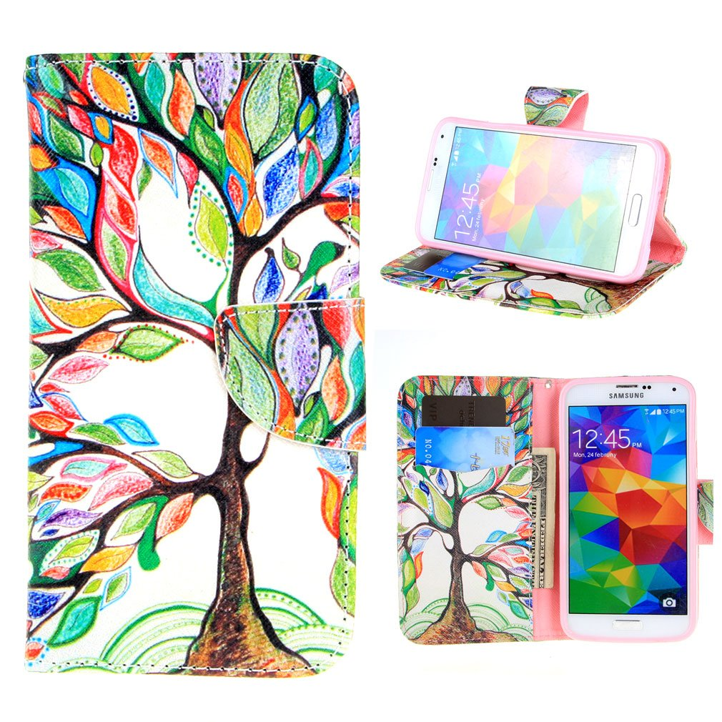 Flipboard For Galaxy S5 Neo Ivencase Tree And Leaf Magnetic Wallet Pu