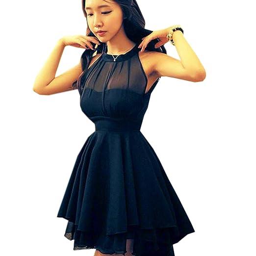 Finejo Women's Bandage Casual Dress Novelty Cute Lace Dresses Peplum Party Black L