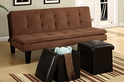 Poundex F7196 Brown Microfiber Fabric Adjustable Sofa With Ottomans