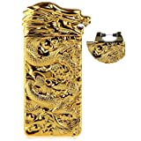 USB Rechargeable Windproof Electric Plasma Arc Cigarette Lighter Oiikury Engraved Lighters Chinese Dragon(Gold) (Color: Gold, Tamaño: Average)