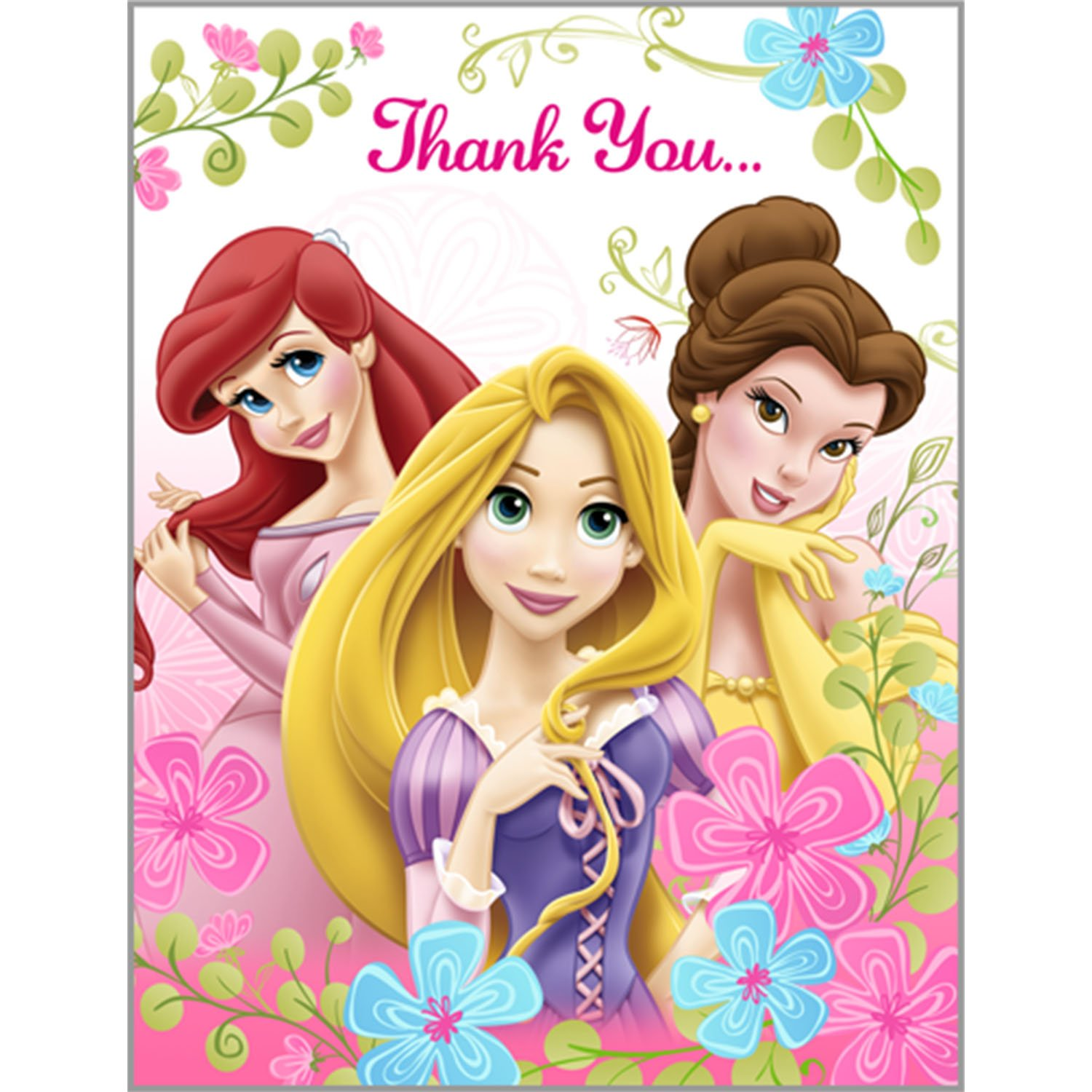 disney princess birthday party thank you cards