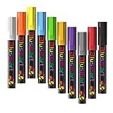 Chalk Markers, Blusmart 10pcs Bright Liquid Glass Window Pens with 40pcs Chalkboard Labels, Wet Wipe Erasable, 6mm Reversible Tips, Children Friendly (Color: multicolored)