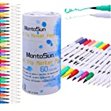 60 Dual Tip Brush Pens Art Markers,MontoSun Coloring Marker Pens Fine Liners and Brush Tip Colored Pen for Adult Drawing Sketching Painting