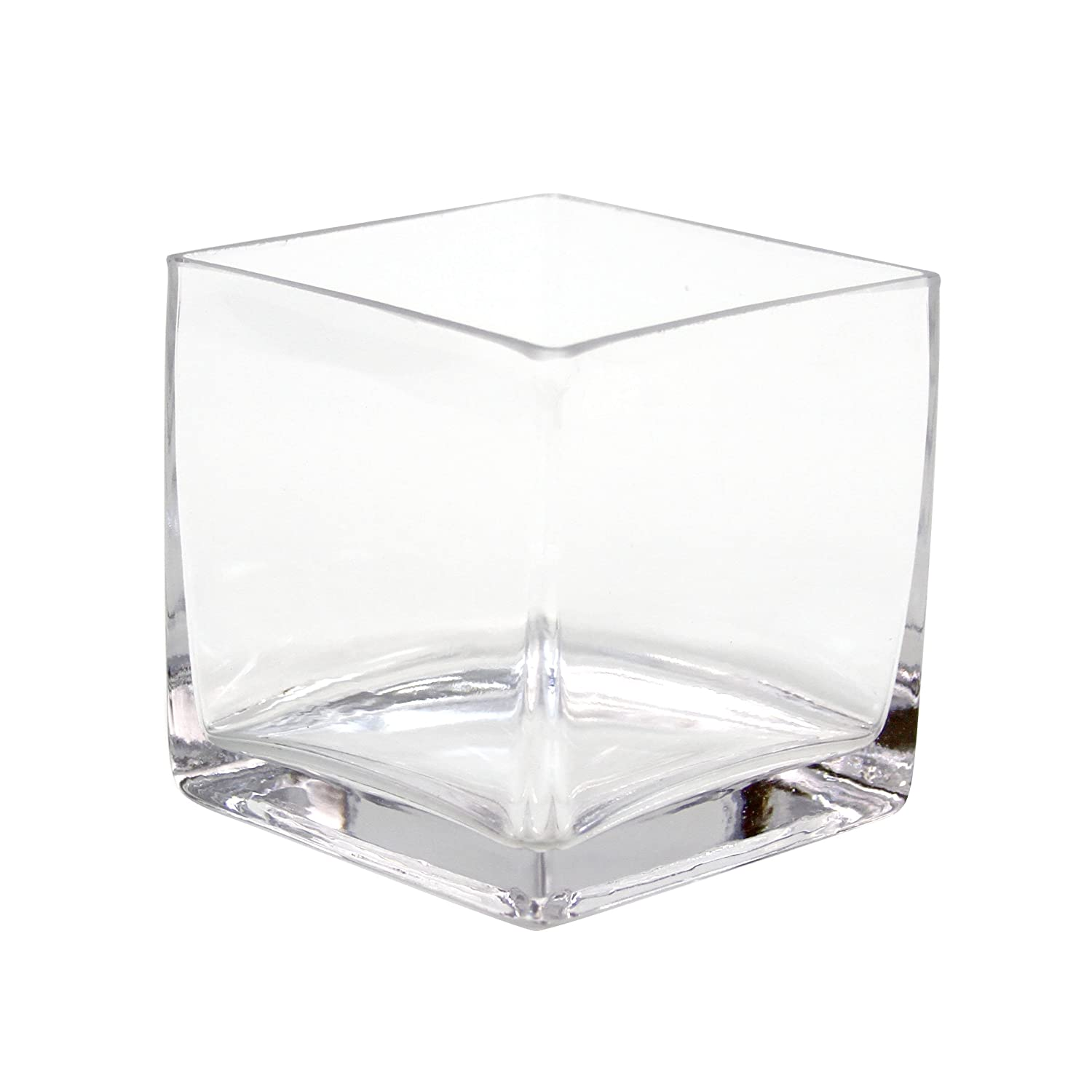 Koyal Wholesale 404343 12-Pack Cube Square Glass Vases, 4 by 4 by 4-Inch wholesale