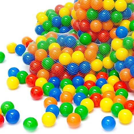 eyepower 250 Balles de jeu en plastique 5,5cm de diamètre set de balles colorées pour enfants chiots décoration fêtes