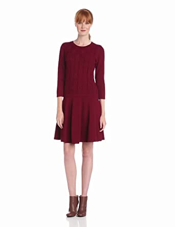 Nine West Dresses Women's Short Sleeve Cable Dress with Flare Skirt, Vintage Wine, Small