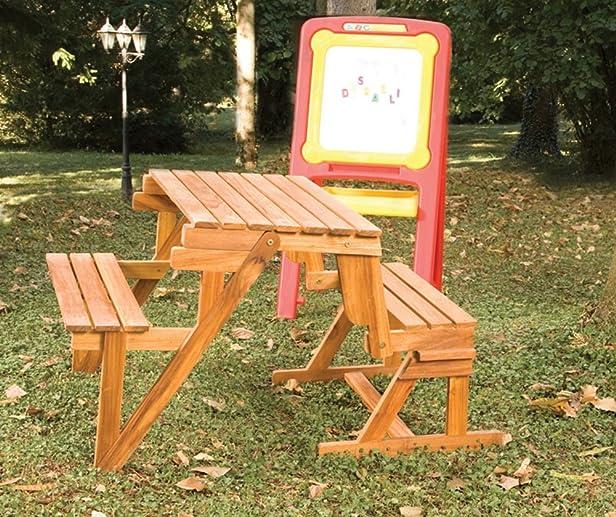 Set da Giardino per Bimbi in Legno Teck Color Naturale 90x80xh63cm Disraeli