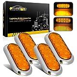 Partsam 4x Waterproof Amber Stop Turn Tail Brake Lights Flange Mount 6