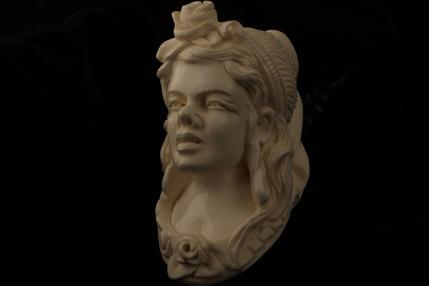 Meerschaum Pipe – Victorian Lady from Master Carver E.Cevher – Tobacco Smoking Pipe Hand Made from the Finest Block Meerschaum – New