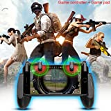 Mobile Game Controller Set Lunies Sensitive Shoot,Aim Buttons L1R1 for PUBG/Rules of Survival Cell Phone Game Controller for iPhone Android (Color: Black mobile game controller and gamepad)