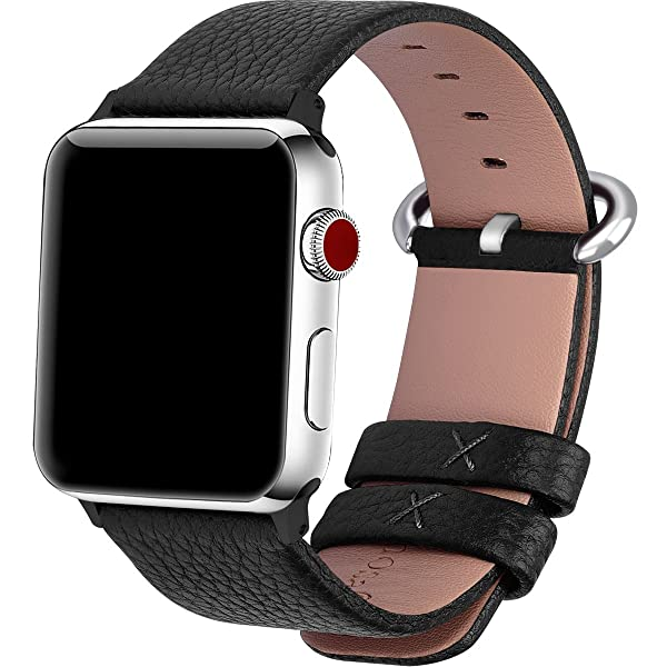 Fullmosa 15 Colors for Apple Watch Bands 42mm and 38mm, Yan Calf Leather Watch Replacement Band/Strap/Bracelet for iWatch Series3,Series2,Series1,42mm Black (Color: Black+silver buckle, Tamaño: 42 mm)
