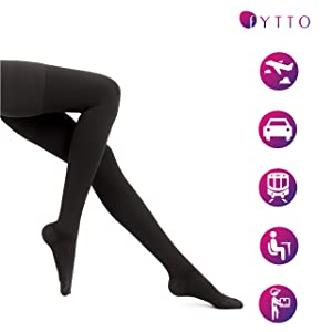 Fytto 2026 Women S Microfiber Compression Pantyhose 15 20mmhg Support Hosiery Flight Stockings Improved Circulation Comfort