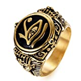 JAJAFOOK Mens Stainless Steel Ring Egyptian Pharaohs Eye of Horus Udjat Gold Plated Tone Jewelry Size 8-13 (Color: Black Golden)