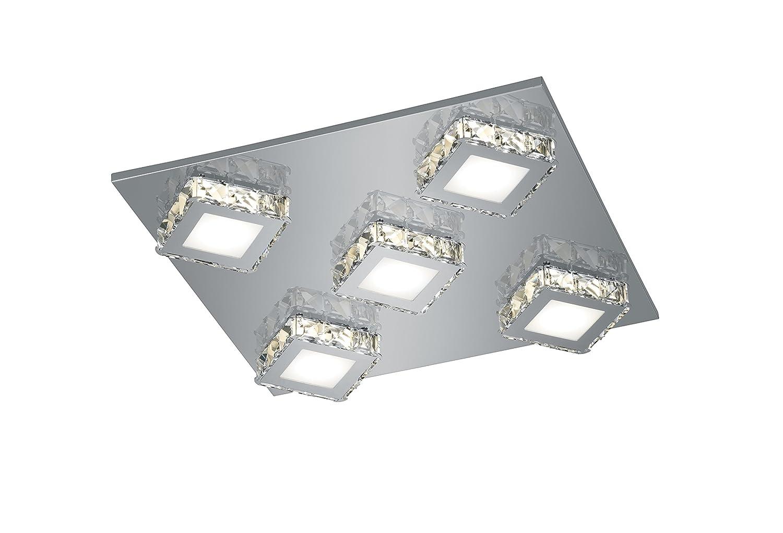 Trio Leuchten LED-Deckenleuchte GRENOBLE, chrom, Acryl, weiß / Glas klar 678910506