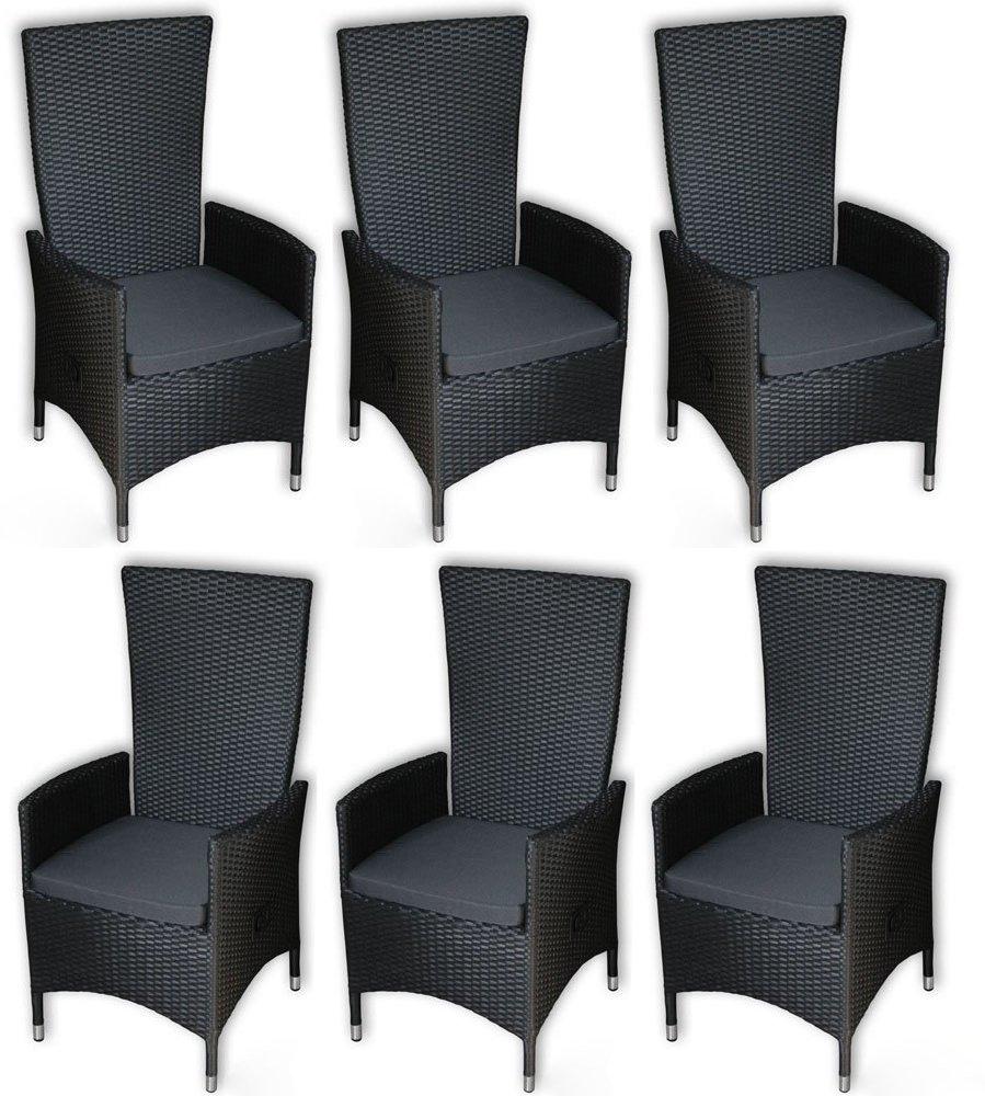 """KMH®, 6er Set Polyrattan Hochlehner """"Tjorben"""" schwarz incl. Kissen (stufenlos verstellbare Rückenlehne – 4 String) (#106250) online bestellen"""