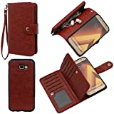 Case for Galaxy A7 2017, xhorizon TM FLK Premium Leather Folio Case Wallet Magnetic Detachable Removable Wristlet Purse Soft Multiple Card Slots Cover for Samsung Galaxy A7 2017 (Coffee) (Color: Coffee)