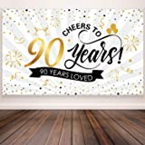 90th Anniversary Birthday Party Decorations, Giant Black and Gold Sign 90th Birthday Party Banner Photo Booth 90th Anniversary Backdrop Background for Birthday Party Supplies