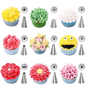 Kootek 42-Piece Cake Decorating Supplies Sets with Icing Tips, Pastry Bags, Icing Smoother, Piping Nozzles Coupler, Flower Nails, Decorating Pen, Flower Lifter for Cake Decoration Baking Tools (Color: Silver, Tamaño: Large and Small)