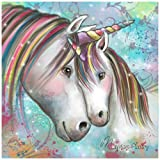 AiEllen Digital Number Diamond Painting, Art Craft Embroidery Home Wall Decoration, Full Drill Two Horses(16X16 inches) (Color: L6)